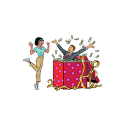 Businessman husband lots money holiday gift box vector