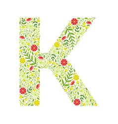 capital letter k green floral alphabet element vector image
