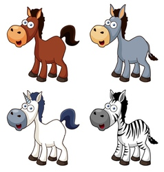 Cartoon horse set vector
