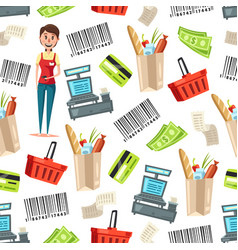 cashier or seller retail store seamless pattern vector image