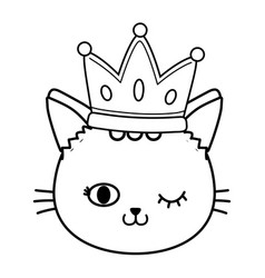 cat wink eyes with crown black and white vector image