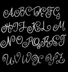 Chalk curly font grunge script on chalkboard vector