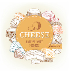 Cheese food banner with gouda and cheddar chechil vector