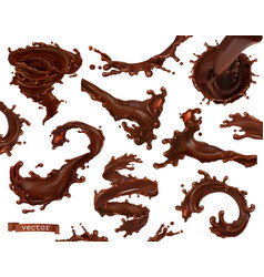 chocolate splash 3d realistic set vector image