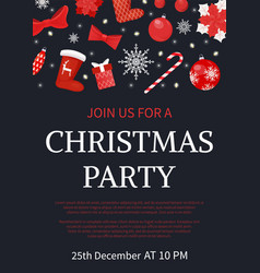 Christmas party join us poster with text sample vector