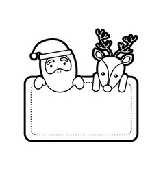 christmas santa claus and reindeer card empty vector image