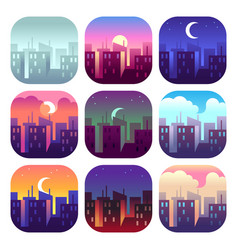 City day times early morning sunrise sunset noon vector