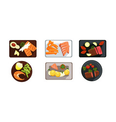collection of served food dishes meat and salmon vector image