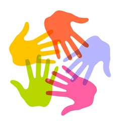 Colorful Hand Print icon 5 colors vector image