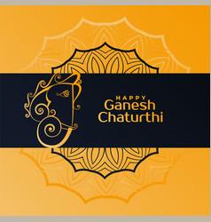 Creative happy ganesh chaturthi festival greeting vector