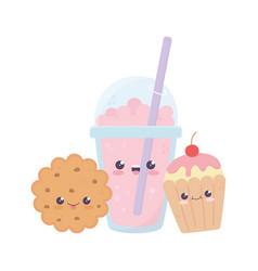 Cute milkshake cookie cupcake kawaii cartoon vector