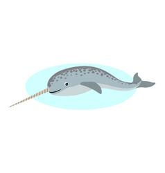cute narwhal with long horn icon unusual whale vector image