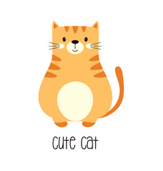 cute red cat isolated on white background vector image