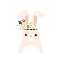 cute wnite hare animal wearing headdress vector image