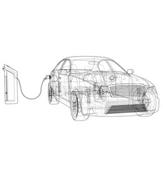Electric vehicle charging station sketch vector