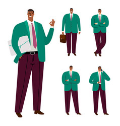 fashionable modern afro american businessman vector image