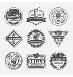Fast food vintage isolated label set vector image