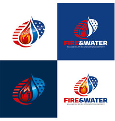 Fire and water american restoration icon and logo vector