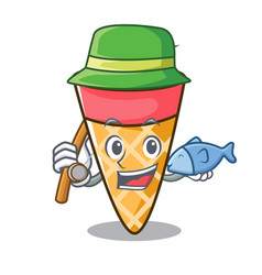 fishing ice cream tone mascot cartoon vector image