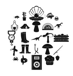fishing icons set simple style vector image