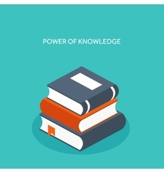 Flat books Education and vector image