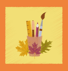 flat shading style icon pencils pens ruler vector image