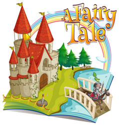 Font design for word a fairy tale with big castle vector
