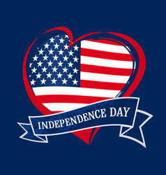 fourth july usa independence day heart banner n vector image