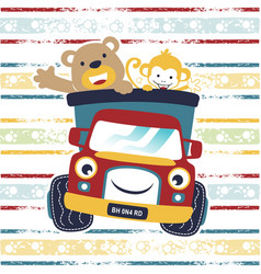 funny animals cartoon with funny truck on vector image