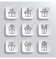 Gift Box Web Icons Set Holiday Presents vector image