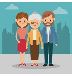 Grandmother and parents icon family design city vector