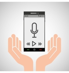 hand mobile phone record music vector image