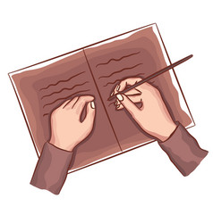 Hands writing on book note diary top view vector