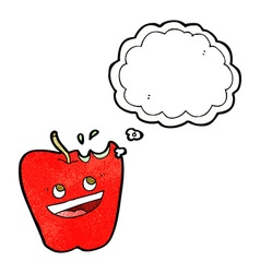 happy apple cartoon with thought bubble vector image
