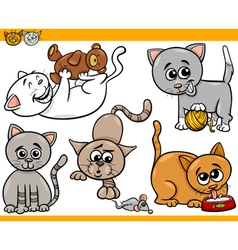 Happy cats cartoon set vector