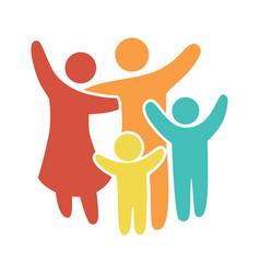 Happy family icon multicolored in simple figures vector