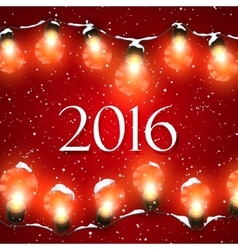 Happy New 2016 Year Christmas Lights vector