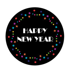 Happy new year typography with colorful confetti vector