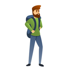 Hiking man icon cartoon style vector