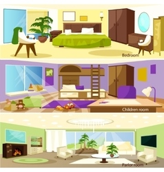 Horizontal Cartoon Living Room Interior Banners vector image