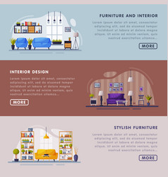 interiors and furniture design landing page vector image