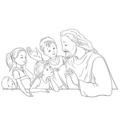 jesus christ talking to children coloring page vector image