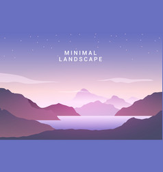 Landscape sunset flat background nature sky vector