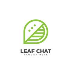 Leaf chat logo design template vector
