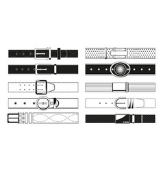 Leather belt monochrome pictures vector