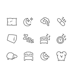Lined Sleep Well Icons vector image