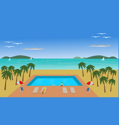 location of the pool has coconut trees around vector image
