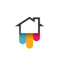 logo of house with colorful bends vector image