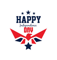 Logo template with stars and falcon silhouette in vector