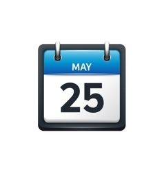 May 25 calendar icon flat vector